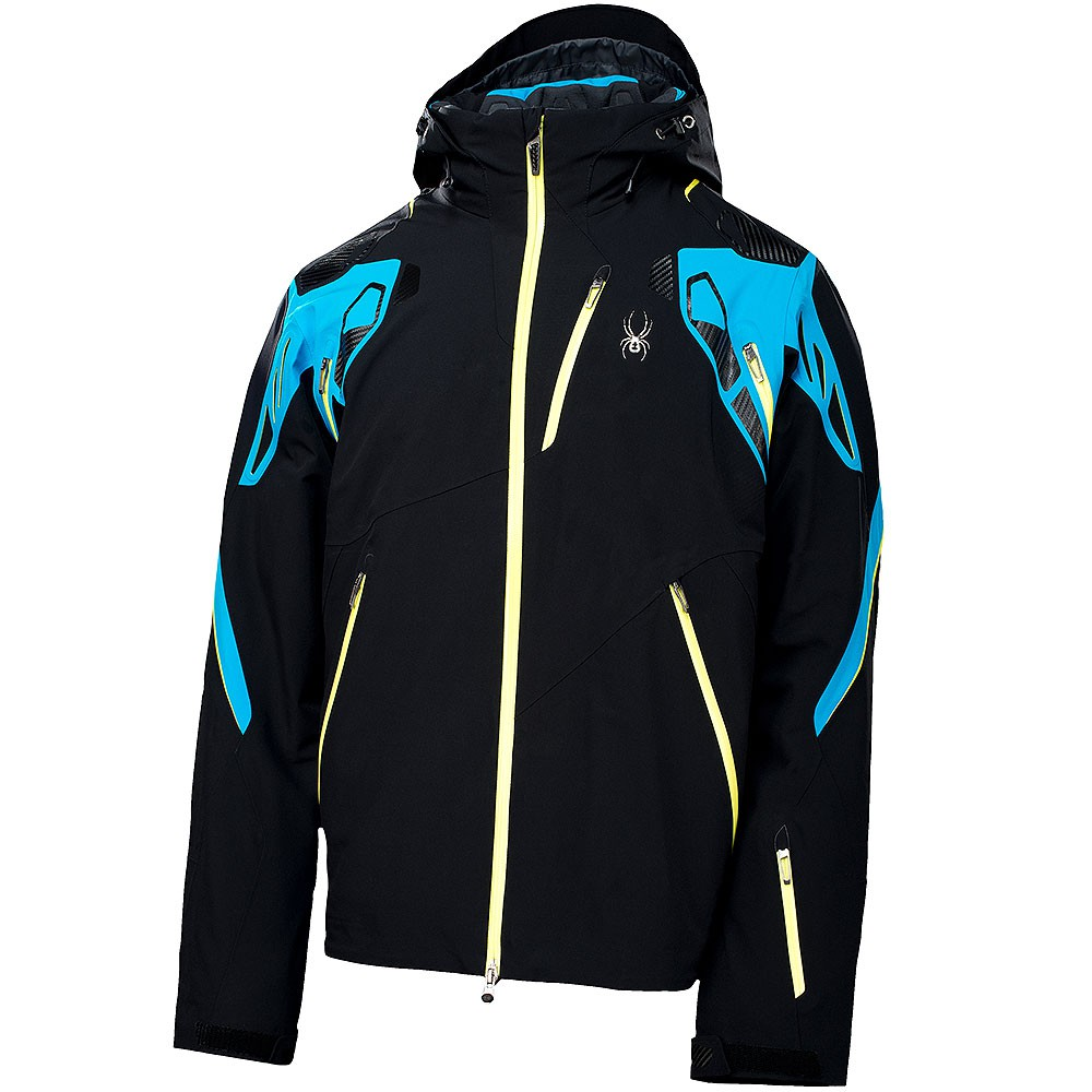 spyder pinnacle jacket herren skijacke schwarz blau neon ebay. Black Bedroom Furniture Sets. Home Design Ideas